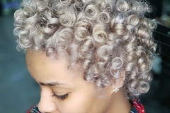 Platinum Blonde Curls in Atlanta by Dee at The Cherry Blossom Salon