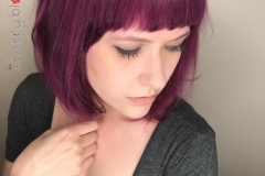 Bangs and Violet Hair in Atlanta by Jessica at The Cherry Blossom Salon