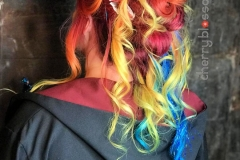 Bright Rainbow Festival Hair in Atlanta by Jessica at The Cherry Blossom Salon