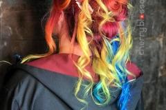 Bright Rainbow Festival Hair in Atlanta by Jessica at The Cherry Blossom Salon
