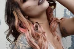 Vivid Peach Brunette Hair in Atlanta by Jessica at The Cherry Blossom Salon