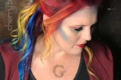 Vivid Rainbow Hair Updo in Atlanta by Jessica at The Cherry Blossom Salon