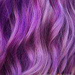 close up vivid purple hair
