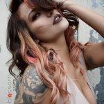 vivid peach brunette hair
